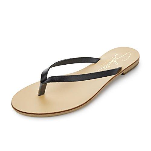 SCHMICK SHOES Flip Flops Luca: Damen Leder Zehentrenner Sandalen Sommerschuhe flacher Absatz handgefertigt Größe:42, Farbe:schwarz / natural