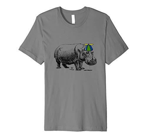 Hippo mit Hut, Hippo Propeller Mütze Beanie T-Shirt