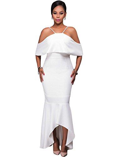 Azbro Ruffled Sleeves High-low Hem Party Maxi Dress white