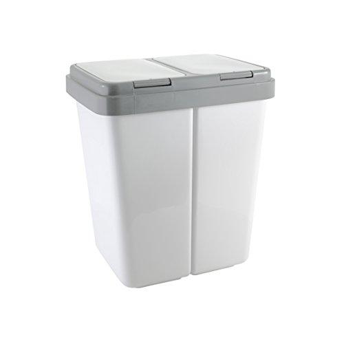 Zweimer Duo Müllbehälter mit Deckel Kunststoff Mülleimer für die Küche geruchsdichter Abfalleimer Mülltrennsystem 2 x ca. 25 Liter - Farbe: Grau (Mülleimer Für Die Küche)