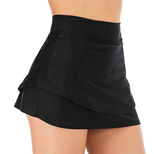 Viloree Damen hohe Taille Badeshorts Bikini Rock mit Integrierter Hose Bottom mit Short Schwarz M