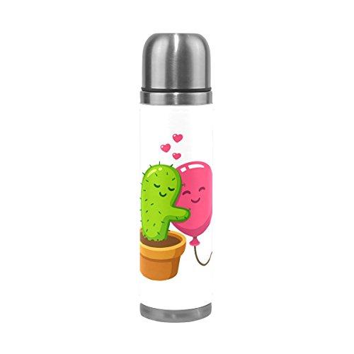Love Edelstahl Wasser Flasche Vakuum Isoliert Thermoskanne 17Oz echtes Leder verpackt, ()