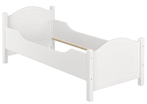 Erst-Holz® Weißes Seniorenbett Massivholzbett 90×200 extra hoch mit Rollrost Matratze 60.40-09WFLM