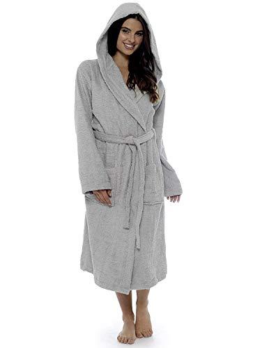 CityComfort Damen Robe Luxus Terry Frottee Baumwolle Bademantel Bademantel hoch saugfähige Frauen mit Kapuze und Schal Handtuch Bad Wickeln (XL, grau)