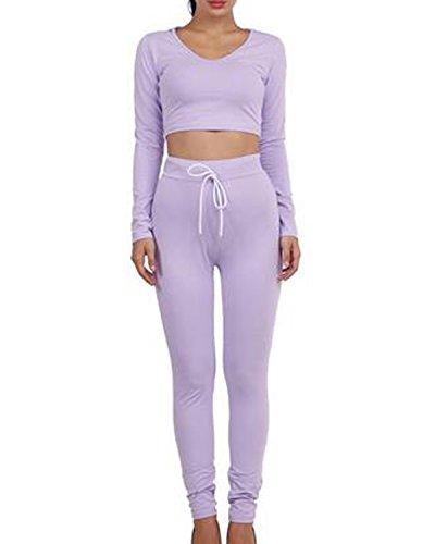 Auxo Femme 2PCS Survêtements Ensembles Sexy Col V Crop Tops à Capuche + 1 Pantalons Joggings Violet