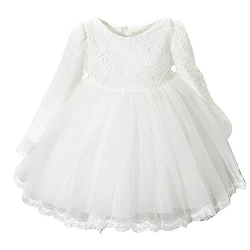 (zhbotaolang Mädchen Tutu Kleid Prinzessin Kleider - Langarm Hochzeit Festzug für Kinder Herbst Winter 130cm (Weiß Verdicken))