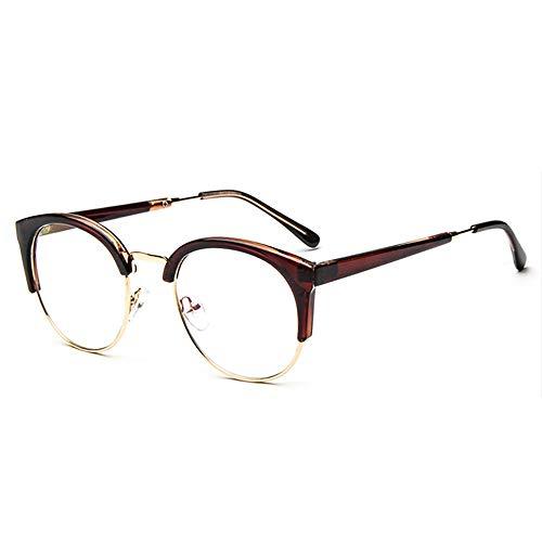 Stilvoller Brillenrahmen Unisex Vintage Brille Horn Umrandeten Nerd Metall Brillen Optische Brille Half Frame Brille für Frau und Mann Vielzahl von Stilen (Schwarz Umrandeten Lesebrille)