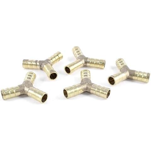 Sourcingmap - 5 pezzi in ottone e 3 vie forme adattatore portagomma accoppiatore per tubo 10 millimetri