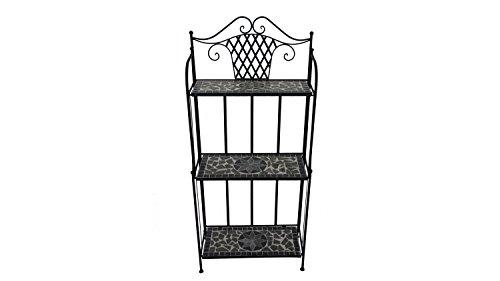 Lifestyle for Home Metallregal Regal für Garten mit Mosaik in schwarz grau Blumentreppe mediterran