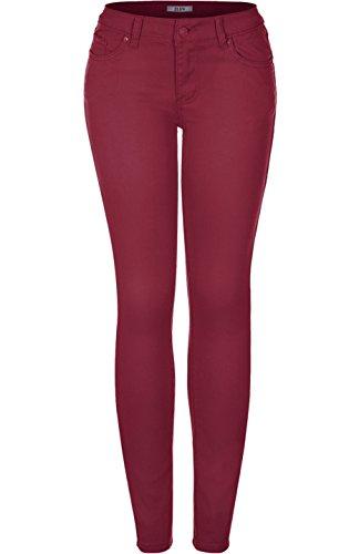 2LUV Damen Jeanshose, Rot, BDJS-174_Wine_5 Old Navy Capri-jeans