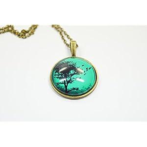 Halskette Kette mit Anhänger Baum Vogelschwarm