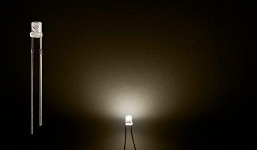 ProGoods 50x LED 3mm warmweiss flach | radial bedrahtete Leuchtdiode | energieeffizienter als herkömmliche Lampen | für Modellbau,Innenraumbelechtung,usw. | Antistatikverpackung | lange Lebensdauer