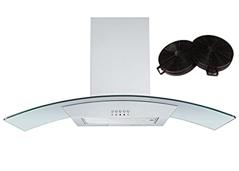 Cookology CGL900SS 90cm Curved Glass Chimney Hood Stainless Steel & Filters