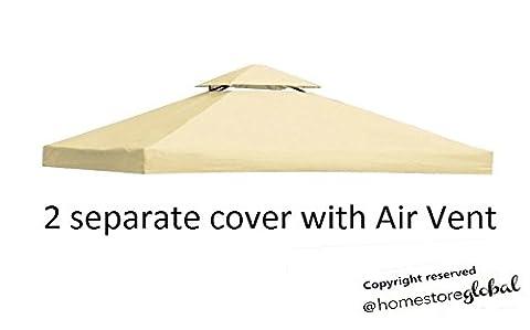 HomeStore Global toile de toit de rechange pour tonnelle Gazebo 3m x 3m - Blanc (Angolo Gazebo)
