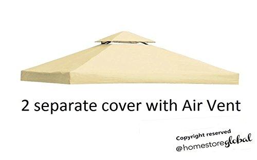 HomeStore Global, Sostituzione della tela di canapa per il tetto gazebo 3m x 3m - materiale idrorepellente tessuto e resistente ai raggi UV - Crema