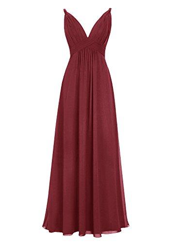 Dresstells, Robe de soirée, robe de cérémonie dos nu, robe longue de demoiselle d'honneur Bordeaux