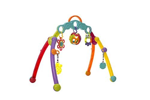 Playgro Arche de Jeux Pliable, Avec Jouets Détachables, Dès la Naissance, Junyju Fold and Go Activitiy Playgym, Multicolore, 40173