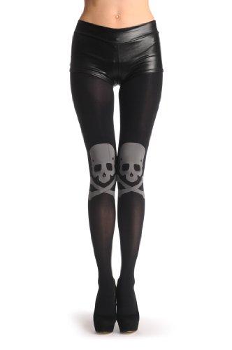 Large-Grey-Woven-Skull-Crossbones-On-Black-Nero-Collant-Taglia-Unica-34-42