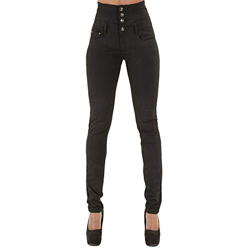 Hohe Taille Stretch Hose (LAEMILIA Damen Jeans mit Hoher Taille Stretch Dünn Skinny Hose (EU 42(Tag XXL), Schwarz))