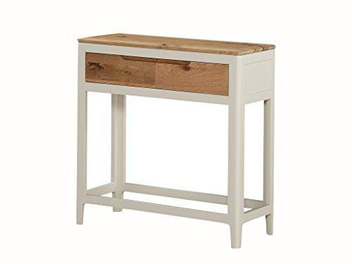 The One Dunham Großer Hall Tisch Eiche lackiert–Große Konsole mit Schubladen Eiche lackiert–Oberfläche: Eiche Spanisch weiß–Flur–Wohnzimmer,–Esszimmer, Home Office, Schlafzimmer Möbel