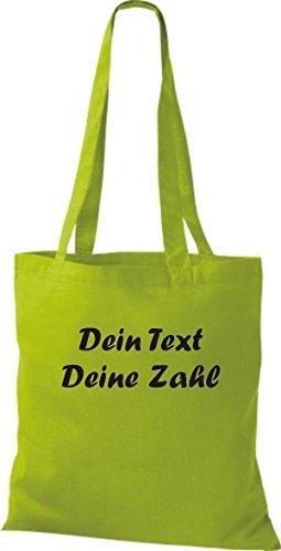 ShirtInStyle Stoffbeutel Baumwolltasche mit deinem Wunschtext veredelt Farbe Fuchsia kiwi