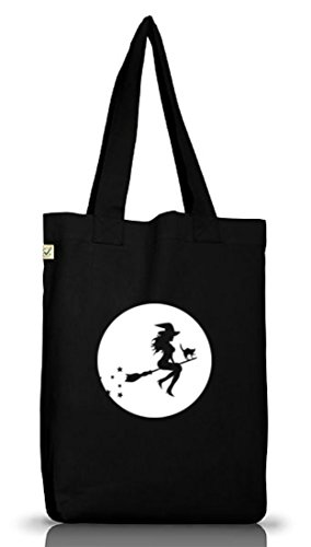 Shirtstreet24, Halloween - Hexe, Grusel Kostüm Jutebeutel Stoff Tasche Earth Positive, Größe: onesize,Black