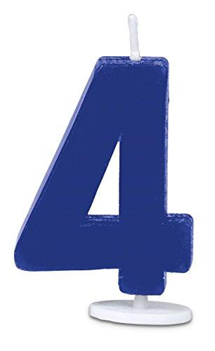 Staedtler Haus 4Nummer Kerze mit Halter, 4,5cm, blau, 30 x 30 x 4.5 cm