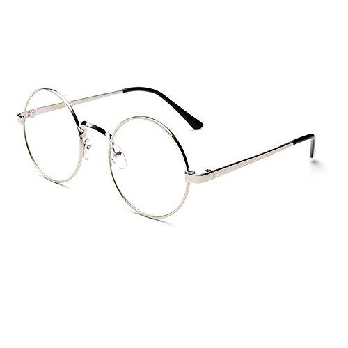 WooCo Retro runde Brille für Damen Herren, Heißer Verkauf Verspiegelte Flachlinse Fashion Classic Unisex Metallrahmen Schwarz, Silber, Grün, Gold, Kaffee(Silber,One size)