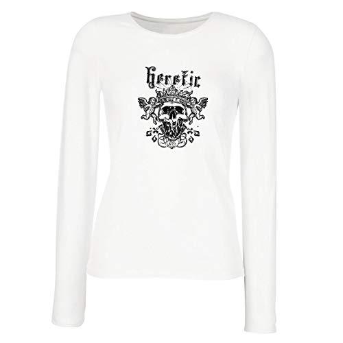 lepni.me Weibliche Langen Ärmeln T-Shirt Heretic King Skull - Krone des Ruhmes, Skelett Gesicht (Large ()
