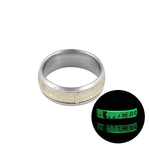 Liebespaar Ring Edelstahl leuchtende Ringe für Paare im Dunkeln leuchten Modeschmuck Trauringe für Männer und Frauen - Silber