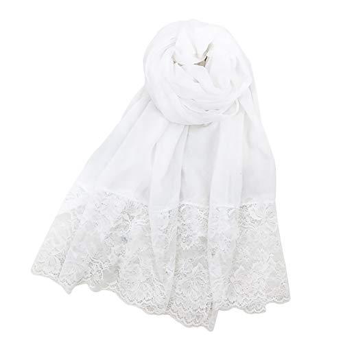 Tonpot Belle Femme Elegante Creme, solarbetrieben, Spitze, durchsichtig, Schaltuch, für Damen, Baumwolle, 90 x 180 cm, Baumwolle, weiß, 180 * 90 cm