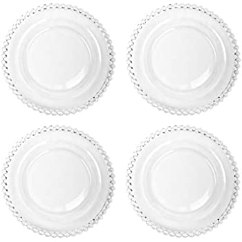 Set of 4 Bella Perle Clear Glass Small Dessert Side Plate Exclusive Tableware