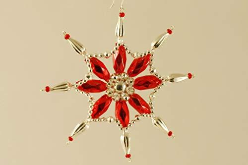 Silber Rot Schneeflocke, Sterne Tschechische böhmische Weihnachten, Baum, Geschenk, Ornamente, Glasperlen Projekt Handmade Hobby-DIY-Kit-Set 120mm