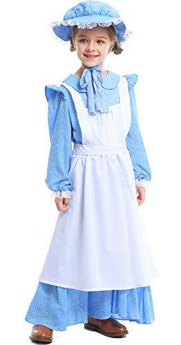 Kostüm Kind Halloween Kolonial Mädchen - MOMBEBE COSLAND Mädchen Pionier Kostüme Viktorianisch Kleid (Blau 2, XS)