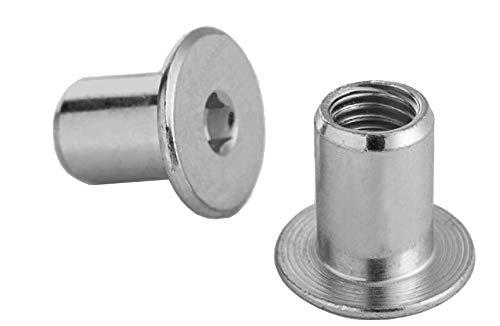 RONFAR Hülsenmutter mit Flachkopf-Innensechskant M6 x 15 x 12 mm 50 Stück