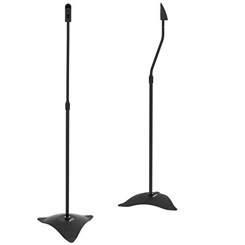 Duronic SPS1019 Universal Home Cinema Surround Metal Base Speaker Stands - Height Adjustable - Black - Set of 2
