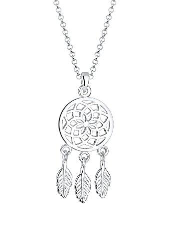 Elli Damen Schmuck Echtschmuck Halskette Kette Anhänger Boho Feder Traumfänger Sterling Silber 925 Länge 45 cm