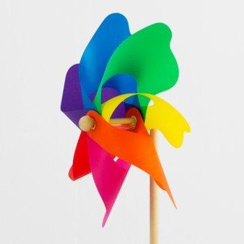 Windspiel – Moulin 22 Rainbow – UV-beständig und wetterfest – Windrad: Ø22cm, Standhöhe: 56cm – fertig aufgebaut inkl. Standstab (Rainbow) - 2