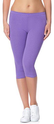 Ladeheid Damen Leggings 3/4 LAMA01 (Violett27, S/M (Herstellergröße: 36/38)) (3/4 Länge Leggings)