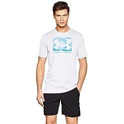 Under Armour UA Boxed Sportstyle SS Camiseta, Hombre, Blanco (White/Petrol Blue/Capri 100), L