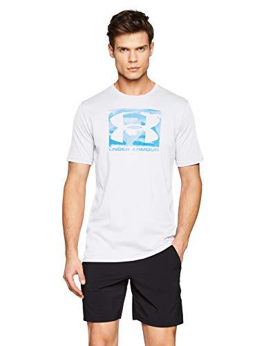 Under Armour Herren Boxed Sportstyle T-Shirt mit Grafik, atmungsaktives Sportshirt, schnelltrocknendes Funktionsshirt mit Loser Passform, Weiß/Petrol Blau/Capri (100), XXL