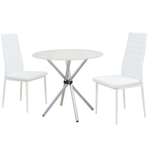 Festnight 3-tlg. Essgruppe Tisch Set Esstisch mit 2 Stühlen Esszimmertisch Küchenstuhl Weiß