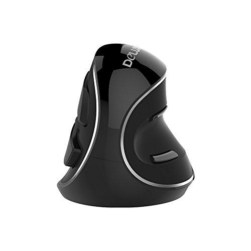 KKmoon Delux Wireless MausTragbare Optische Mobilmaus-Blaulicht mit USB-Empfänger 800/1000/1600 DPI 3 Ebenen Ergonomische Maus mit 6 Tasten für PC-Laptop-Desktop