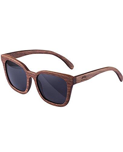 Herren Sonnenbrille Hölzerne Sonnenbrille Mit schwarzen polarisierten Objektiven UV400 Platz Draussen Sonnenbrille (Super Dunkle Sonnenbrille)