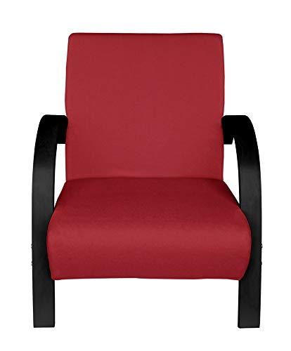 Moments of Glass Polstersessel Einzelsofa 1Sitzer Sofa Einsitzer Beistellsessel Stoffbezug mit hochwertige Polsterung (Rot mit Schwarz)
