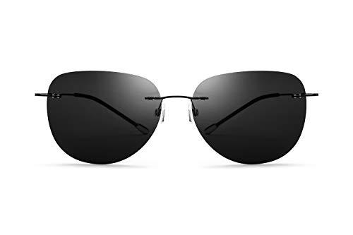 Our Peaches Schraubenlose polarisierte Sonnenbrille ultraleichte rahmenlose Titan Shades UV-Schutz Sonnenbrille weiblich und männlich (Color : Black, Size : Normal)