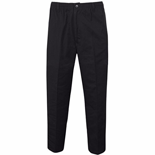 Stylo Online Mens Smart Rugby Trousers Fully Elasticated Stretch Waist Band with Draw Cord Comfortable FIT Workwear Bottoms Straight Leg Casual Formal Work Pants Size 30-48
