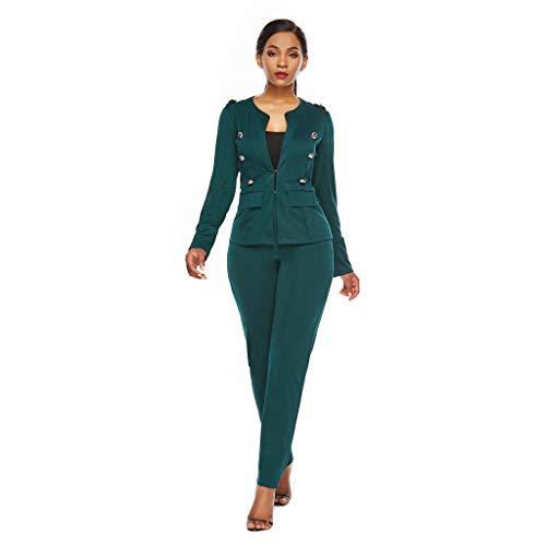 Business Hosenanzug Damen Elegant Hose mit Jacke Slim Fit Blazer Hosen Anzug Set Einfarbig Casual Lange Hose Sexy Einfarbig Sets Formale Vintage Professioneller Anzug(Grün,L) -