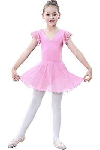 Zoerea Mädchen Ballettkleid Kurarm Ballettanzug Trikot Flowy Tutu Rock Ballettkleidung Set mit Strumpfhose Leggings Rosa,110 Tutu Legging Set
