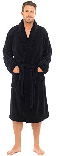 Herren Luxus Weich korallenrot Fleece Bademantel - Schwarz, XX Large -
